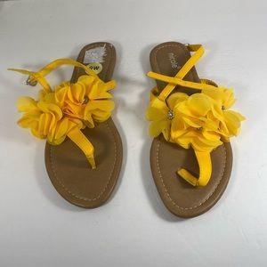 Nicole Yellow Fabric Flower Sandal